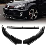 Q1-TECH, Front Bumper Lip fit for compatible with 2010-2013 Volkswagen Golf MK6 GTI Model Only, Front Bumper Lip Spoiler Air Chin Body Kit Splitter Painted Glossy Black ABS, 2011 2012 (SPORT-Style)