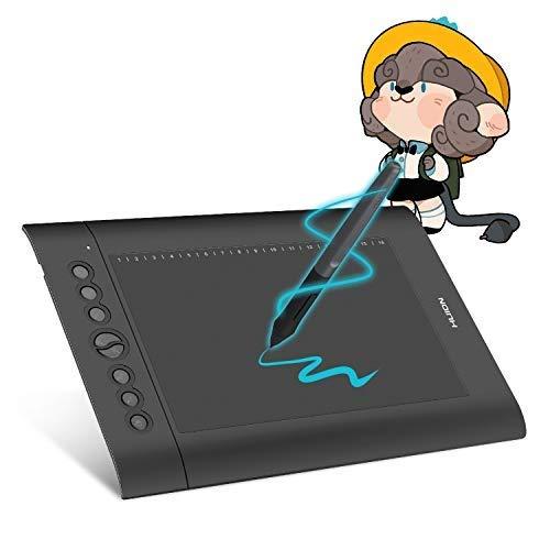 HUION H610PRO V2 Tabletas de Dibujo Gráfico, Bloc de Dibujo Digital de 10x6 Pulgadas para Computadora, con 8 Teclas de Presión Personalizadas, Función de Inclinación, Bolígrafo sin Batería 8192