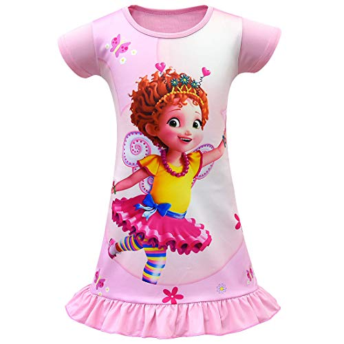 Wenge Fancy Nancy Comfy Loose Fit Pajamas Girls Printed Princess Dress Nightgown for Toddler 4-9Years (130/7-8Y, Pink)