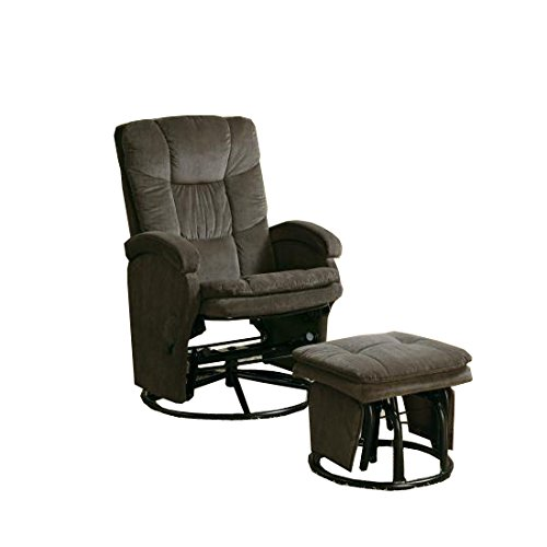 Coaster Fine Furniture 600159 Silla Reclinable con Taburete, Tapizado en Tela de Chenille, Color Chocol