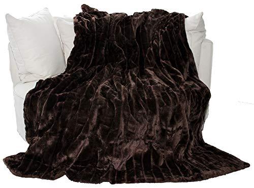 Auro - Plaid in pile, effetto pelliccia, di elevata qualità, Fibra sintetica, marrone, 200 x 150 cm