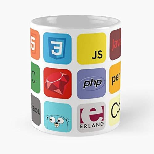 Orangeburps Lisp PHP Visual Basic Mosaic Net Java Programming Python Language Taza de café con Leche 11 oz