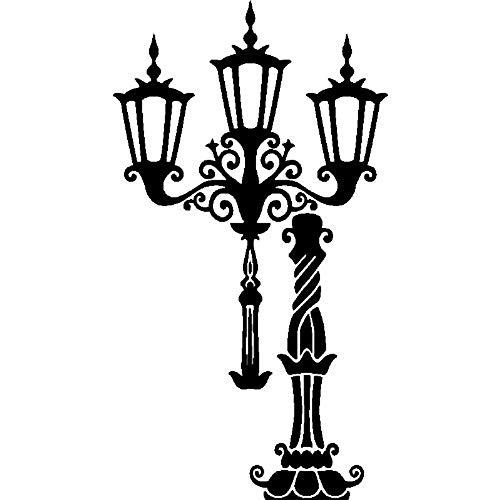 Ambiance-Live wandtattoo lantaarn voor haken 100 x 55 cm zwart