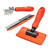 Benz Dog Grooming Tools Kit – Slicker Brush, Dematting Rake Tool &...