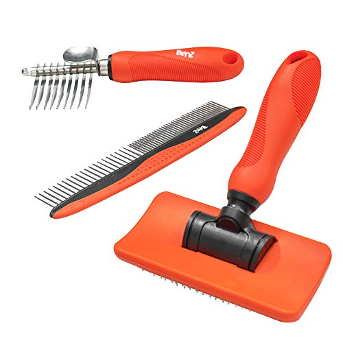 Benz Dog Grooming Tools Kit – Slicker Brush, Dematting Rake Tool & Metal Dog Comb, Pet Grooming Kit, Professional Dog Groom Supplies