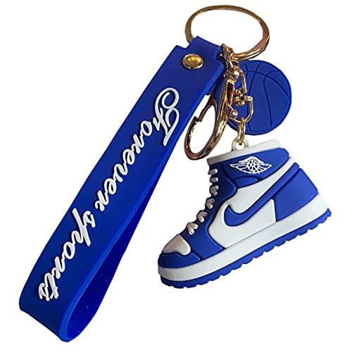 QLma Mini Llavero de Silicona Jordan Zapatillas Colgante Mujer Hombre Niño Llavero Regalo Aj Zapatilla Llavero Llavero Accesorios (Cantidad 2) Mini Azul