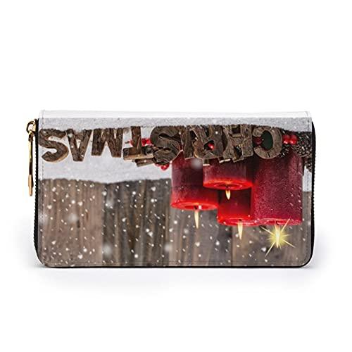 Geldbörse mit Gänseblümchen-Motiv, bedrucktes Leder, mit Reißverschluss, Clutch für Reisen, Kreditkarten, Rote Weihnachtskerzen, Einheitsgröße,