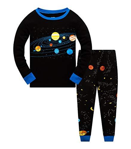 Schlafanzug Jungen 128 Pyjama Kinder Junge Baumwolle Winter Nachtwäsche Langarm Raumfahrt Planet Rakete(Planet-6222 7T)