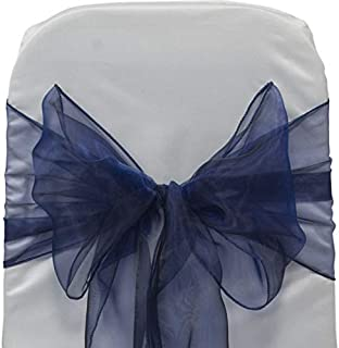 VDS - 25 PCS Elegant Organza Chair Bow Sashes Bows Ribbon Tie Back sash for Wedding Party Banquet Decor - Navy Blue