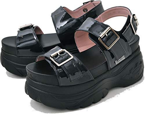 [ ヨースケ YOSUKE ] 厚底フラットサンダル スニーカー底を使用した履きやすいスポーツサンダルタイプ バックベルトはホック式 23.5cm ブラックエナメル
