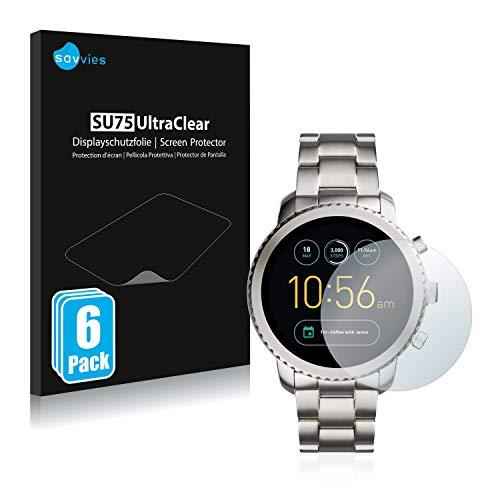 Savvies 6X Schutzfolie kompatibel mit Fossil Q Explorist/Q Explorist (3.Gen) Bildschirmschutz-Folie Ultra-transparent