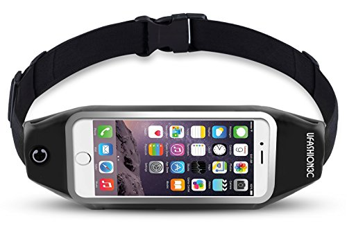 uFashion3C Running Belt Waist Pack for Phone and Keys - fits iPhone X 8 7 6s 6 Plus, Galaxy Note 8...