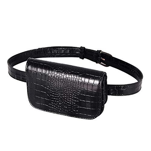Beito Cangurera 1PC Mujer PU Cuero Cintura Bolsa Fanny Packs cocodrilo Cuero Celular Bolsillo con cinturón extraíble Manos Libre Bolsa de Cintura (Negro)