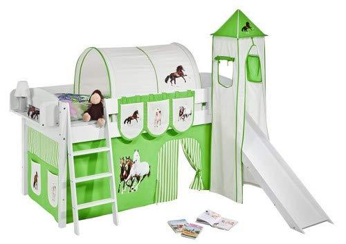 Lilokids Spielbett IDA 4105 Pferde Grün Beige-Teilbares Systemhochbett weiß-mit Turm, Rutsche und Vorhang Kinderbett, Holz, 208 x 220 x 185 cm