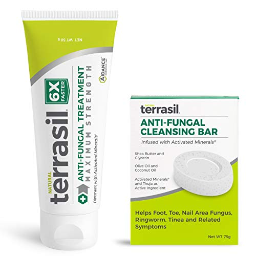 Terrasil Anti-fungal Treatment 50gm Max + Anti-fungal Cleansing Soap (75G) 6X Faster Healing, Natural, Soothing Clotrimazole for Infections