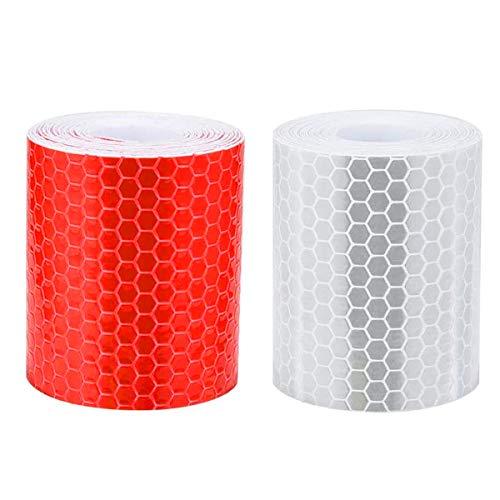 Reflektierendes Klebeband, YMWALK 2St. 5 cm × 3 Meter Reflektorband Selbstklebender Aufkleber Hohe Sichtbarkeit für Fahrzeuge Autos Anhänger Anhänger Fahrräder Helme - Weiß und Rot