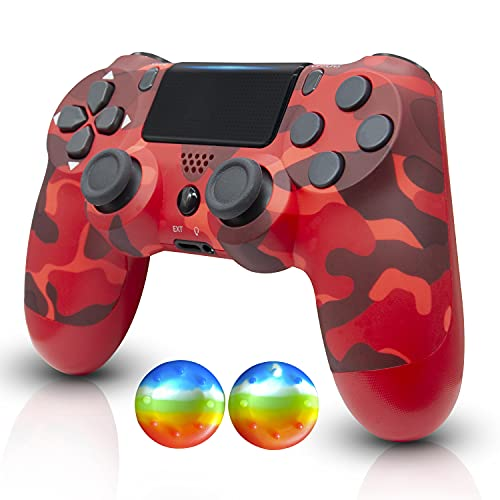 Wireless Controller- Remote Joystick with Charging Cable and Double Shock(camo red)