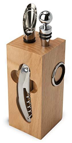 ROMINOX Geschenkartikel Weinaccessoires // Buche Block – Weinzubehör 7-teilig, Block mit Sommeliermesser, 2 Tropfringe, Weinthermometer, Flaschenverschluss, Ausgießer; Maße: ca. 7 x 7 x 22 cm