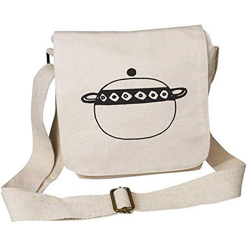 Azeeda 'Cooking Pot' Small Cotton Canvas Messenger Bag (MS00023712)