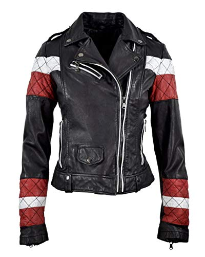 COCO BLACK LABEL since1986 Damen Lederjacke Lammnappa Lammleder Bikerjacke Scarlett rot weiß schwarz, Größe:42, Farbe:Schwarz