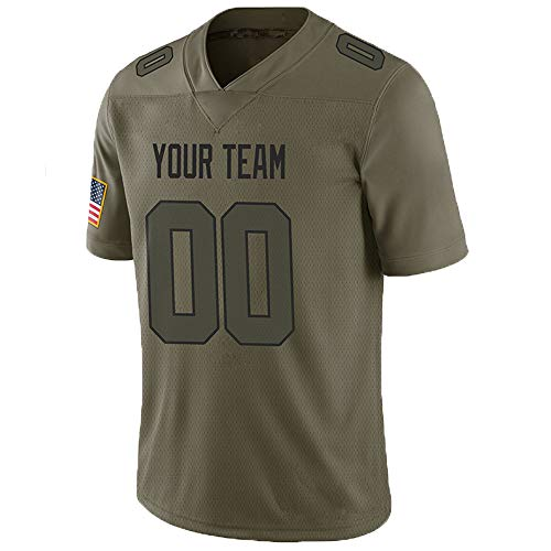 Pullonsy Camo Salute to Service Custom Football Jerseys for Men Sewn Team Name and Your Numbers,Mesh Army Green-Black,Size L
