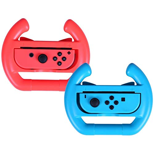 ADZ 2 x Red and Blue Controller Steering Racing Wheels for Nintendo Switch Joy-Con Mario Kart compatible