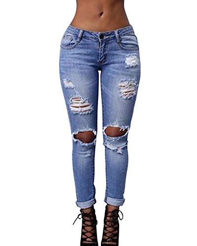 Kasen Mujer Pantalones Cintura Alta Elásticos Skinny Slim Casuales Rasgados Vaqueros Azul Claro 2XL