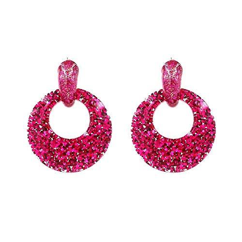 JY Novelty Jewelry-Women's Earrings Exaggerated Personality Temperament Earrings, Stylish Round Acrylic Resin Earrings, Rose Red Geometric Earrings Dangler