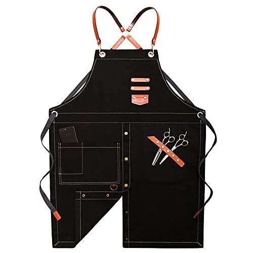 Delantal de chef de mezclilla ajustable con bolsillo para cocina y estilista de pelo, delantal de mezclilla lavado 80 cm