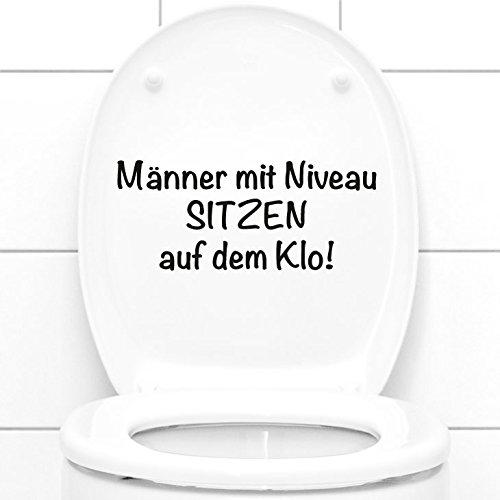 Grandora WC Aufkleber Männer mit Niveau sitzen auf dem Klo I schwarz (BxH) 27 x 11,5 cm I Badezimmer Toilette Sticker Wandsticker Wandaufkleber Wandtattoo W5495