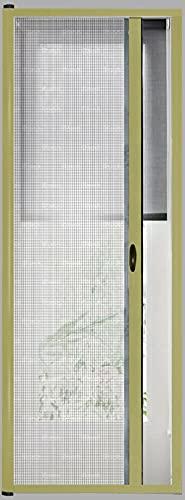 Zanzariera A Rullo Avvolgibile Scorrimento Orizzontale Profilo Regolabile Riducibile Telaio In Alluminio Universale Con Maniglie Per Finestra Porte Balconi colore Oro (150 x 250 cm)