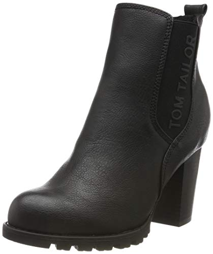 TOM TAILOR Damen 7990204 Stiefeletten, Schwarz (Black 00001), 38 EU
