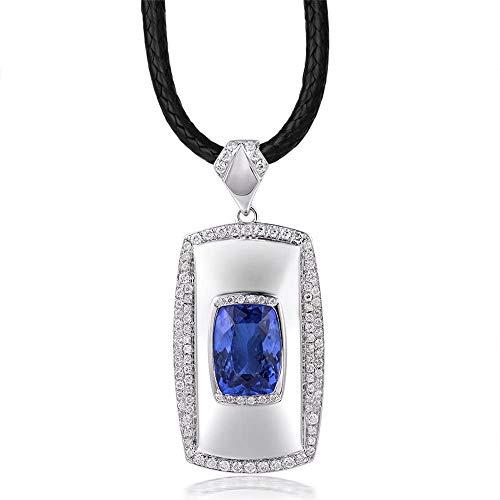 Lanmi Top 18 Karat Weißgold Echte AAAA Herren Tansanit Diamant Anhänger Halsketten Verlobung Hochzeitsgeschenk