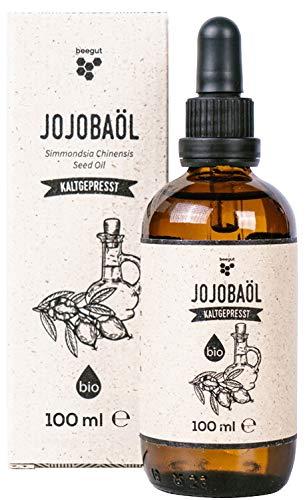 beegut BIO Jojobaöl, kaltgepresst, direkt aus Israel, 100ml Glasflasche mit Pipette für DIY Naturkosmetik, zur Pflege der Haare & Haut