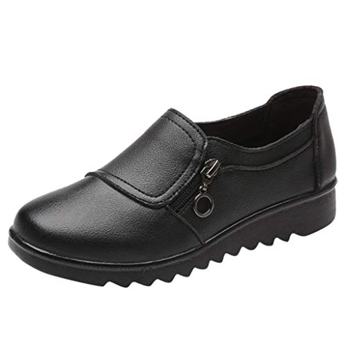 Damen Mokassins Leder Loafer Flache Halbschuhe Frauen Casual Schuhe Leichte Bequeme Slipper Celucke (Schwarz, 38 EU)