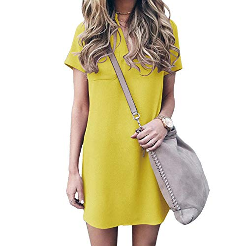 Ts Summer Casual Women Jurken V-hals Met Korte Mouwen Slim Effen Kleur Mini Jurkje Elegant Werk Van Het Bureau Jurk (Color : A01, Size : L)