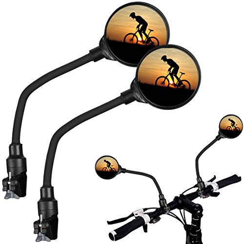 2 pcs Bike Mirror Bicycle Mirrors for Handlebars Wide Angle Rear View Mirrors for Bike MTB Cycling Road Bike Adjustable Rotatable 360° Bicycle Mirrors for Handlebars with Safety Gasket  2 Pack