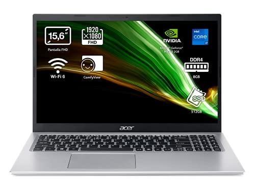 Acer Aspire 5 A515-56G - Ordenador Portátil 15.6' Full HD, Laptop (Intel Core i7-1165G7, 8 GB RAM, 512 GB SSD, NVIDIA GeForce MX350 2GB, ComfyView, Sin OS), PC Portátil Plata, Teclado QWERTY Español