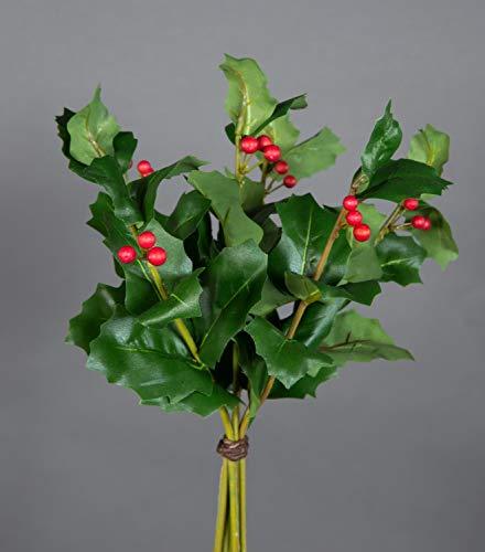 Seidenblumen Roß Ilexbund mit 6 Zweigen 30cm grün JA Kunstpflanzen künstlicher Ilex Zweig Ilexbusch