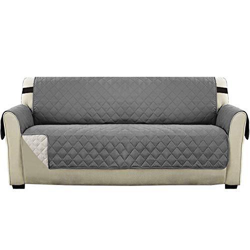 Wendbarer Couch-Schonbezug, Möbelschutz, wasserabweisender Sofabezug für 3 und 4 Kissen Couch mit 5,1 cm breitem Gummiband, Sitzbreite bis zu 198,1 cm (übergroßes Sofa, grau/beige)
