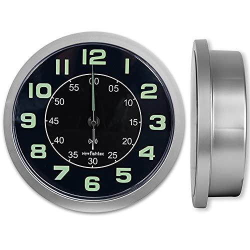 FISHTEC Reloj de Pared de diseño con Compartimento Secreto [Caja Fuerte, para Dinero, Llaves, Joyas, Caja Fuerte Secreta] - Reloj de Pared con radiocontrol - Grandes dígitos - 24 cm - Gris y Negro