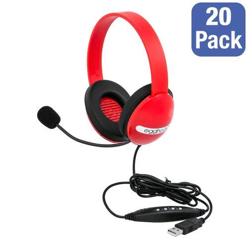 Egghead EGG-IAG-1006-RD-SO USB Preschool hoofdtelefoon met boom microfoon, rood