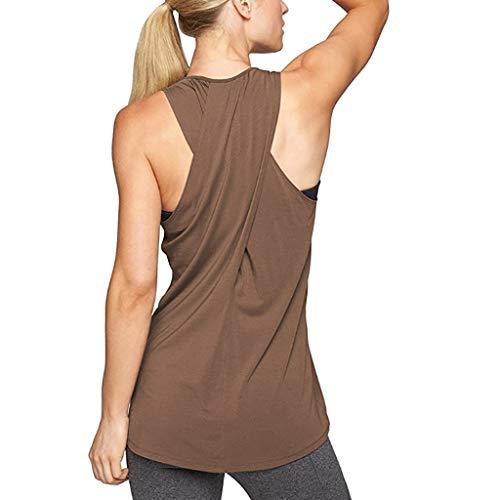 Fenverk Damen Sport Tops Mit Integriertem BH - 2 In 1 Yoga Gym Shirt Fitness Training Tanktop Tank Top RüCkenfrei Oberteil äRmellos Amen Freizeit Trainings äRmelloses(Brown 2,XL)