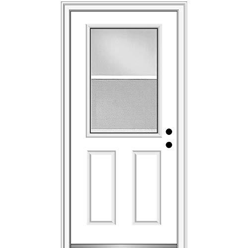"National Door Company Z000316L Fiberglass Smooth Primed, Left Hand In-swing, Prehung Front Door, 1/2 Lite Venting 2-Panel, Clear Glass, 32"" x 80"""