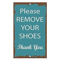 165グレートティンサイン靴を脱いでくださいありがとうアルミメタルサイン壁の装飾12x8インチ