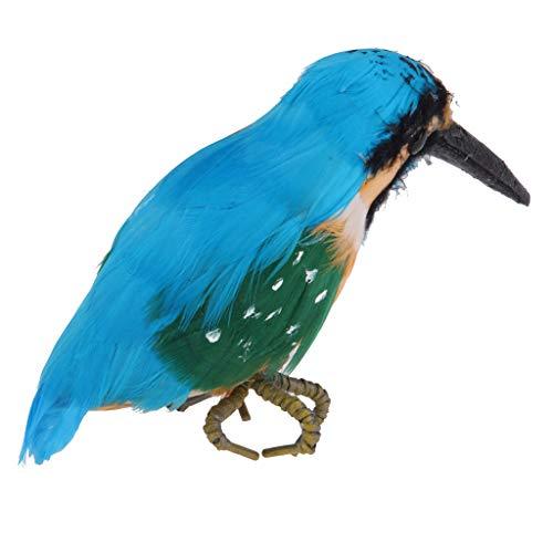Homyl Realisierte Vogelfigur Zaunfigur Dekofigur für Garten Zaun Baum Oder innenraun Deko, 5 Form zum auswählen - Eisvogel 14 cm