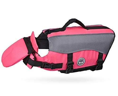 Vivaglory Dog Life Jackets with Extra Padding Pet Safety Vest for Dogs Lifesaver Preserver, Bright Pink, Medium