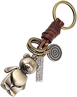 Punk Retro Beast Bear Leather Key Chain Ring Holder Car Key chain Women and Men Bag Key fobs