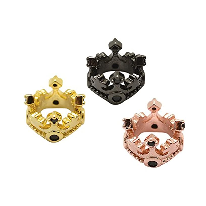NBEADS 10pcs Random Mixed Color Grade AAA Cubic Zirconia Micro Pave King Crown Beads Bracelet Connector Spacer Beads, Brass Large Hole Loose Beads for DIY Jewelry Making Crafts