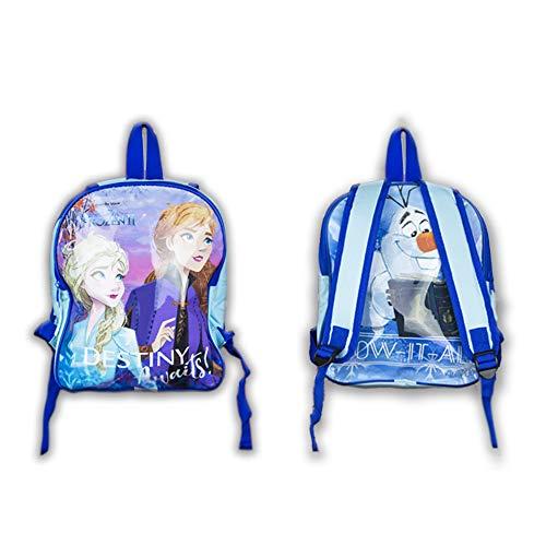 Zaino per bambini Frozen blu brillante, con i personaggi Anna ed Elsa sulla parte anteriore e Olaf sul retro, ideale per scuola, scuola materna o asilo Disney